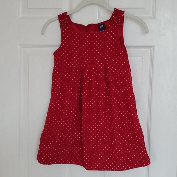 Gap kids red with white dots corduroy jumper